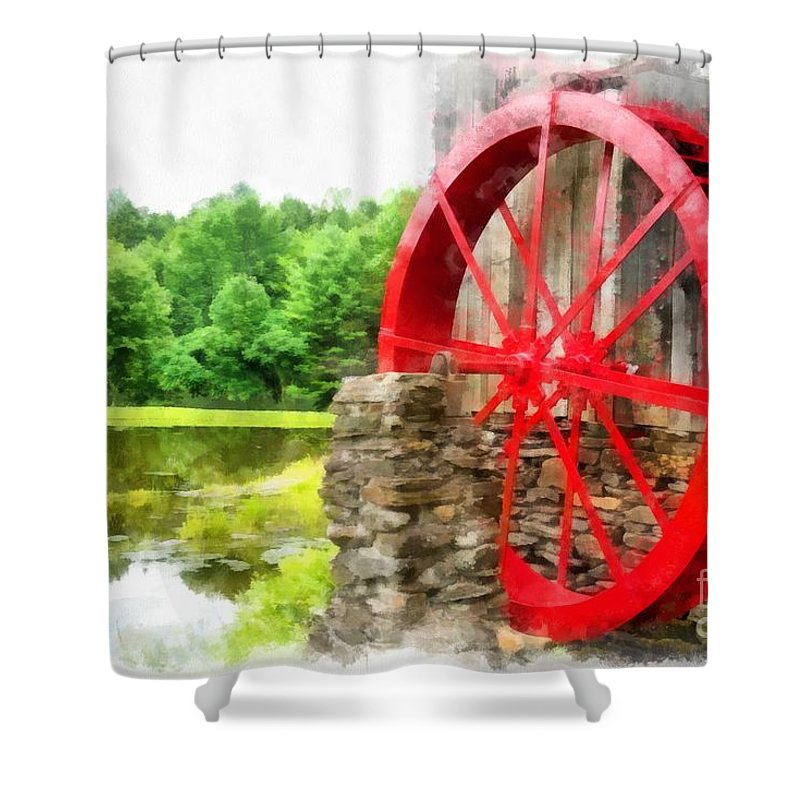 Wheel Shower Curtain featuring the photograph Old Grist Mill Vermont Red Water Wheel by Edward Fielding