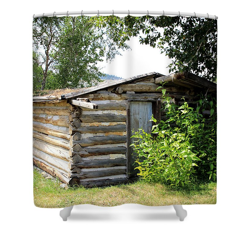 Cabin Shower Curtain featuring the photograph Old Log Homestead by Athena Mckinzie