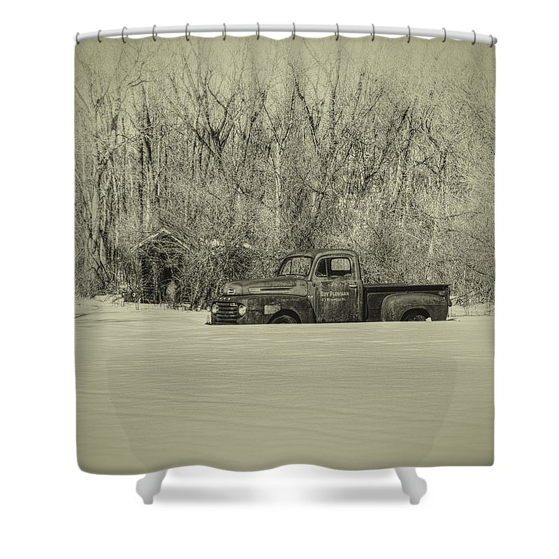 Ford Truck Shower Curtain featuring the photograph Old Timer by Thomas Young