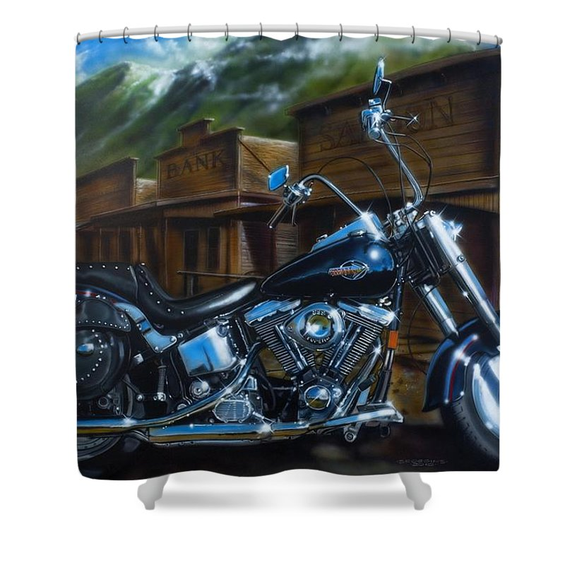 Harley Davidson Shower Curtain Featuring The Painting Old West Fat Boy By Timothy Scoggins