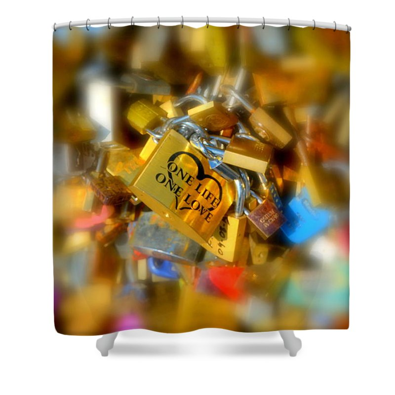 Lock Shower Curtain featuring the photograph One Life One Love Padlock by Carla Parris