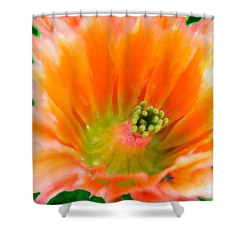 Flower Shower Curtain featuring the painting Orange Cactus Flower by Bruce Nutting