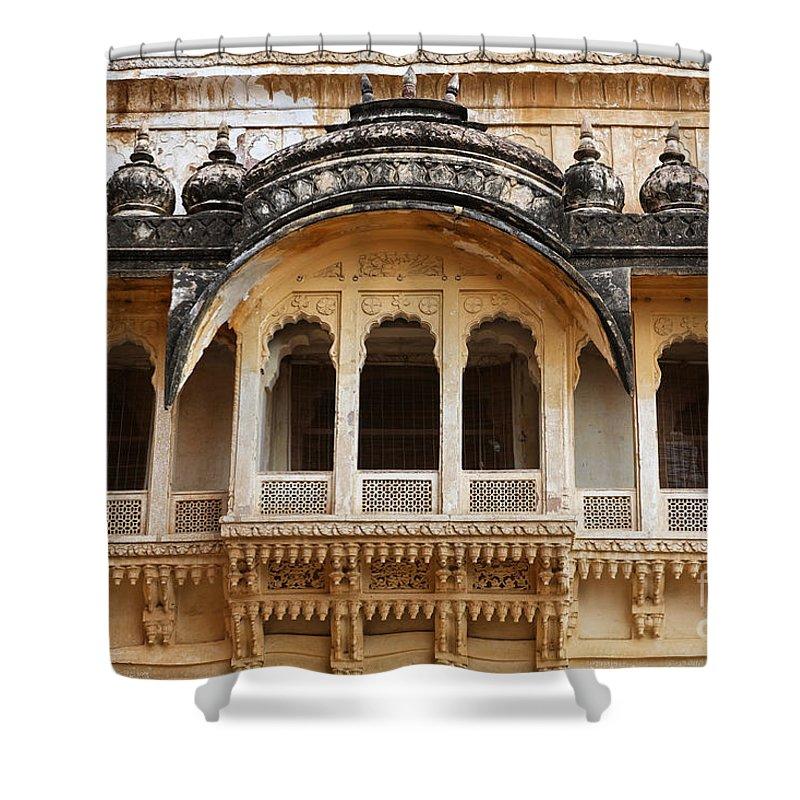 Jodhpur Shower Curtain featuring the photograph Ornate Balcony At Meherangarh Fort At Jodhpur In India by Robert Preston