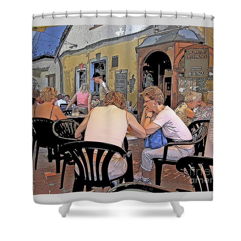 Austria Shower Curtain featuring the photograph Outside Seating by Ann Horn