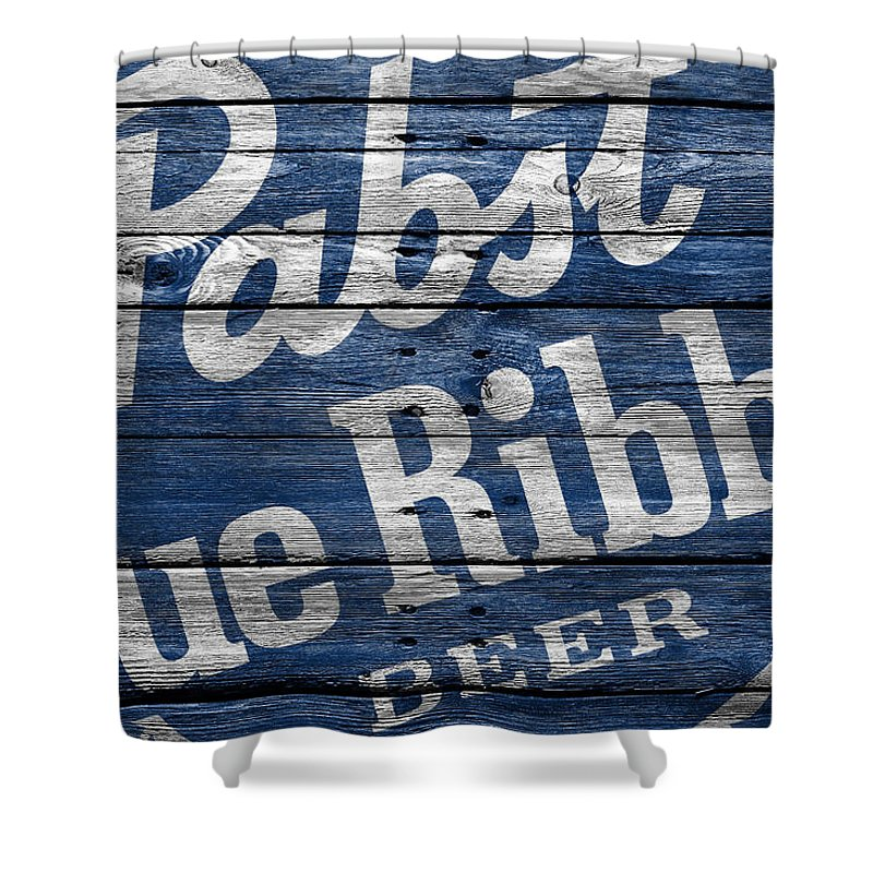 Pabst Blue Ribbon Shower Curtain Featuring The Photograph By Joe Hamilton