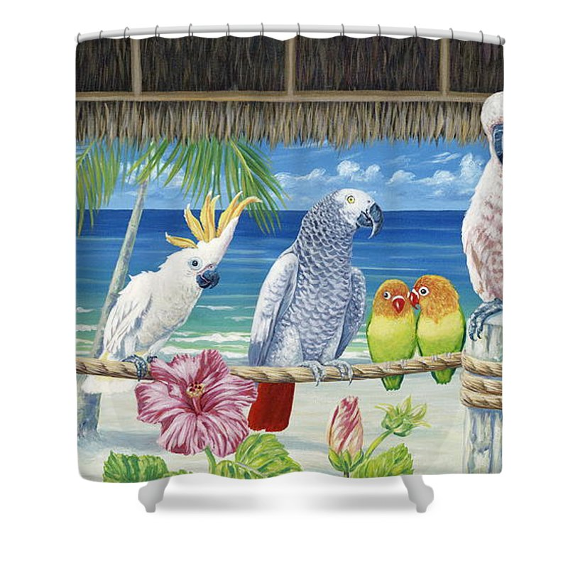 Art Shower Curtain featuring the painting Parrots In Paradise by Danielle Perry