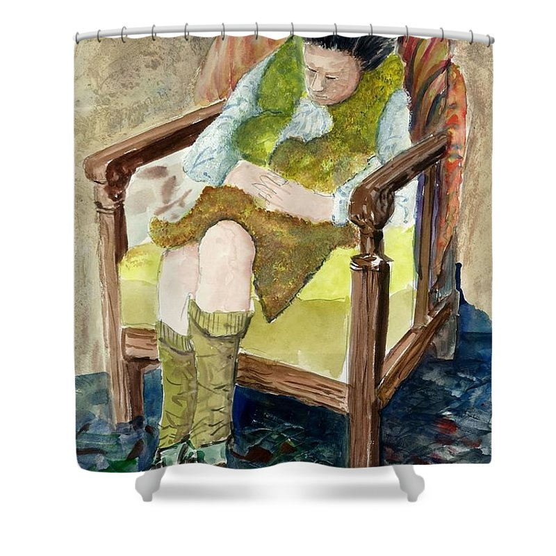 Sleeping Shower Curtain featuring the painting Peaceful Nap by Steven Schultz