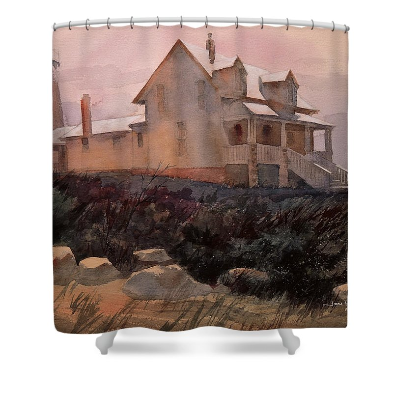 Landscapes Shower Curtain featuring the painting Pemaquid by Jon Hunter