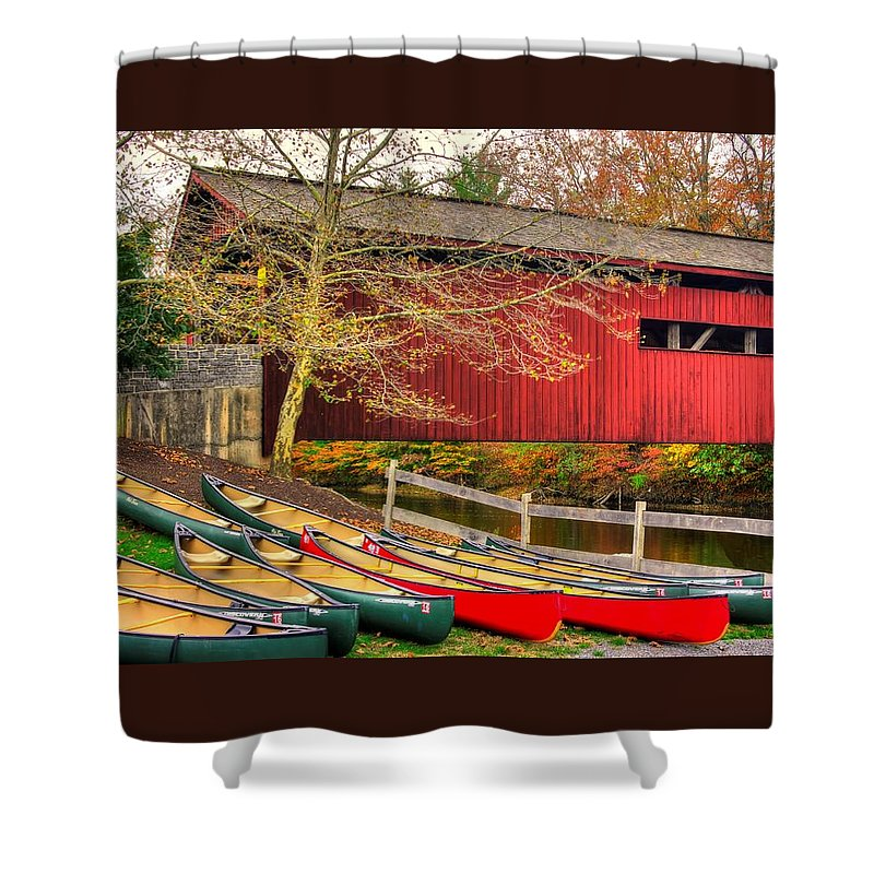 Bowmansdale Covered Bridge Shower Curtain featuring the photograph Pennsylvania Country Roads - Bowmansdale - Stoner Covered Bridge Over Yellow Breeches Creek - Autumn by Michael Mazaika