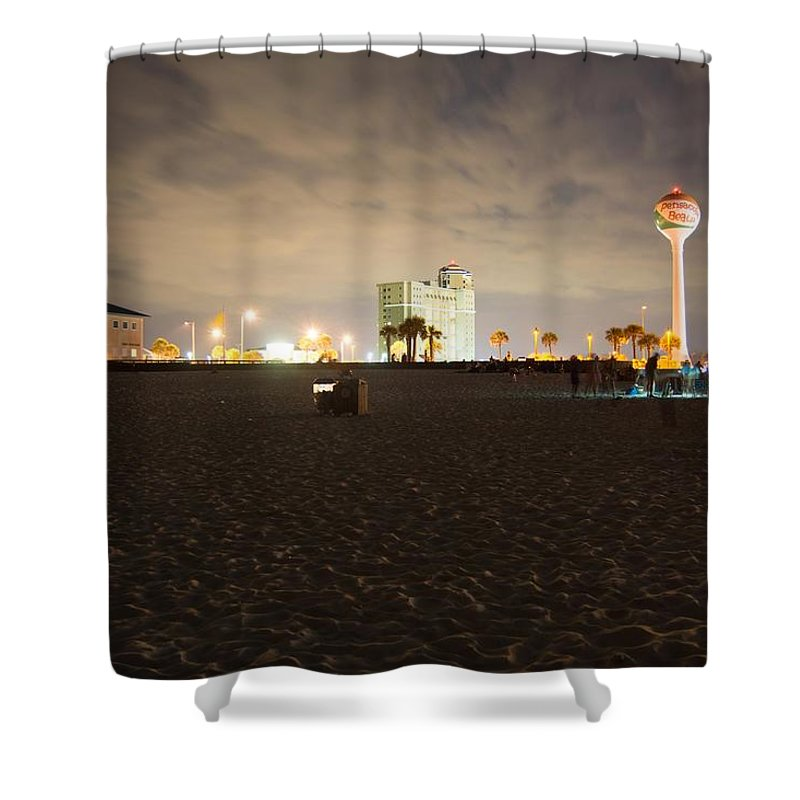 Pensacola Beach Shower Curtain featuring the photograph Pensacola Beach At Night by Jon Cody