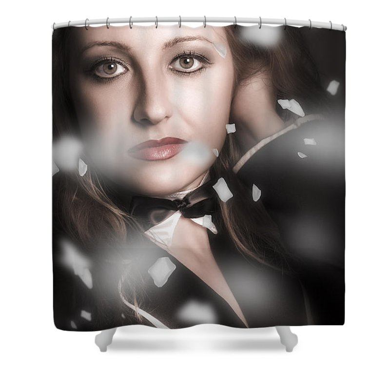 Theater Shower Curtain featuring the photograph Performing Arts Woman. Romantic Stage Performance by Jorgo Photography - Wall Art Gallery