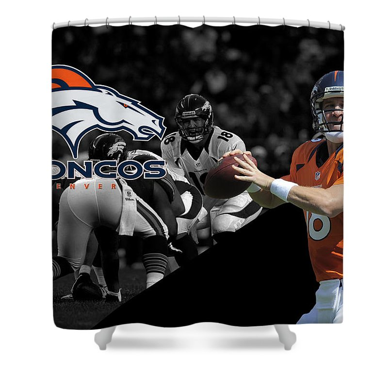 Peyton Manning Shower Curtain Featuring The Photograph Broncos By Joe Hamilton