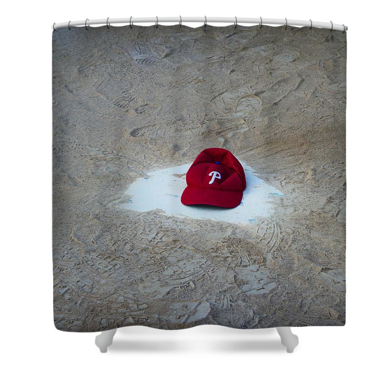 Phillies Shower Curtain featuring the photograph Phillies Home Plate by Bill Cannon