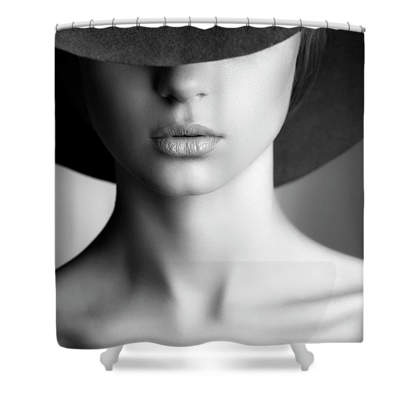People Shower Curtain featuring the photograph Photo Of Beautiful Woman In Retro Style by Coffeeandmilk