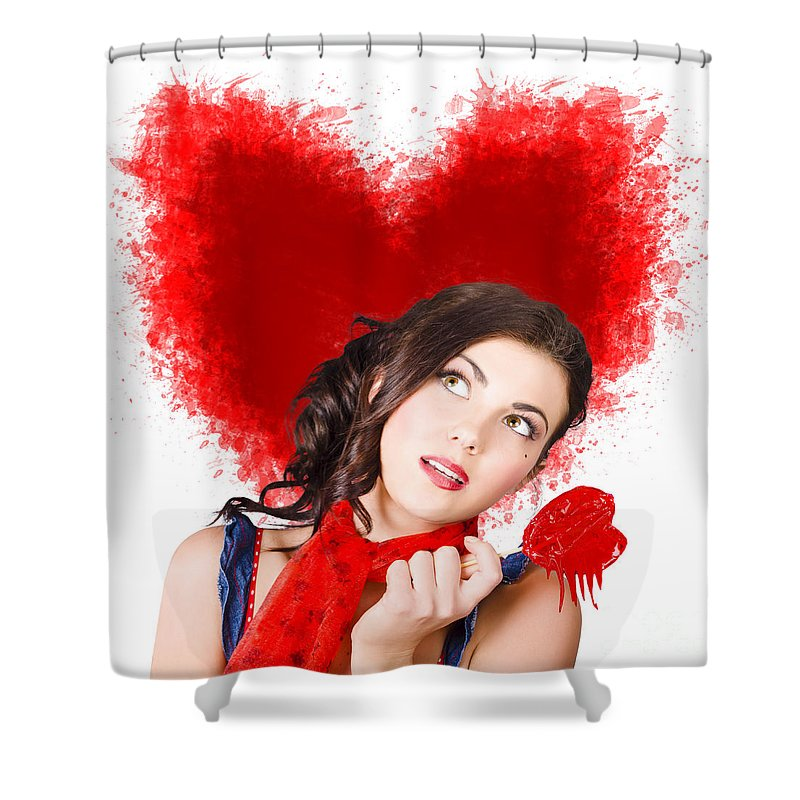 Woman Shower Curtain featuring the photograph Photo Of Romantic Woman Holding Heart Shape Candy by Jorgo Photography - Wall Art Gallery
