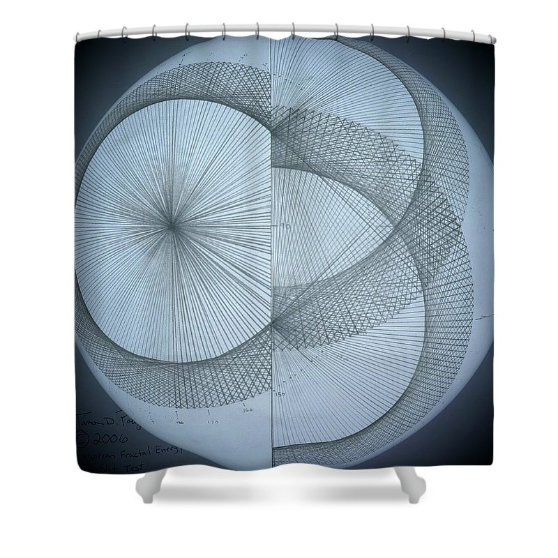 Photon Shower Curtain featuring the drawing Photon Double Slit Test by Jason Padgett