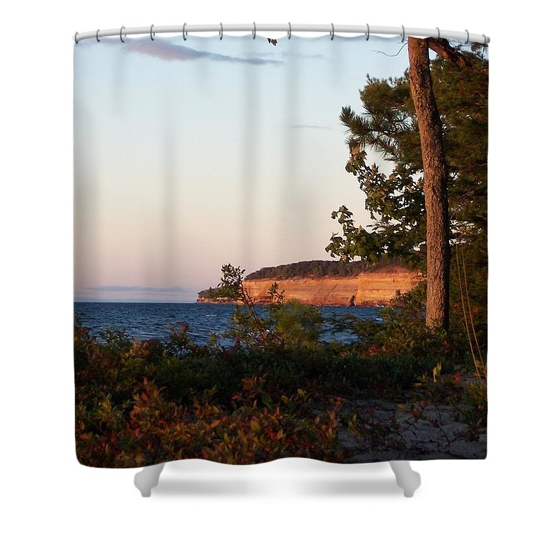 Pictured Rocks National Lakeshore Shower Curtain featuring the photograph Pictured Rocks At Sunset by Teresa McGill