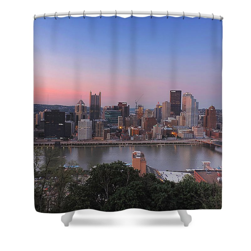 City Shower Curtain featuring the photograph Pittsburgh Skyline At Sunset by Cityscape Photography