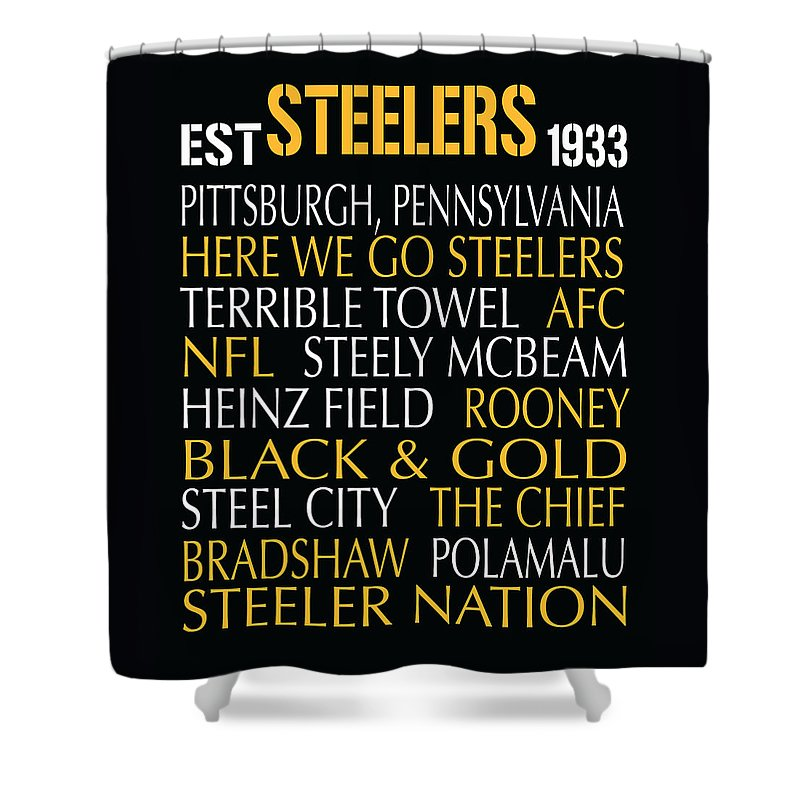 Pittsburgh Shower Curtain Featuring The Digital Art Steelers By Jaime Friedman
