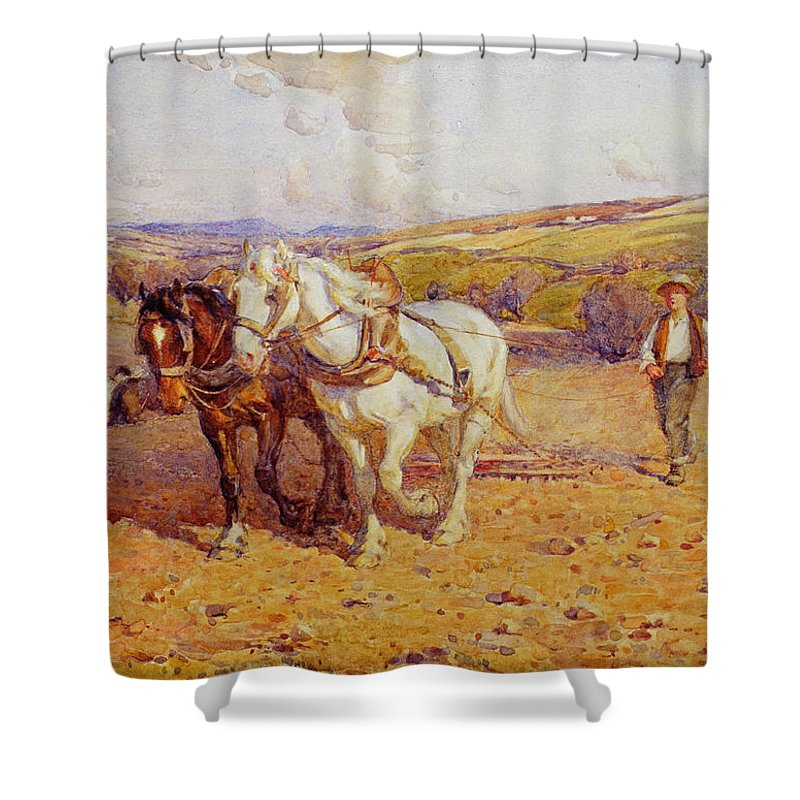 Plough Shower Curtain featuring the painting Ploughing by Joseph Harold Swanwick