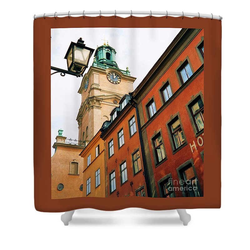 Stockholm Europe Travel Clock Tower Windows Landmark Street Lamp Dramatic Angle Sweden Destination Urban No One Architecture Souvenir Tourism Tower History Unique Art Religions Canvas Print Suggested Metal Frame Poster Print Available On T Shirts Tote Bags Shower Curtains Mugs And Phone Cases Shower Curtain featuring the photograph 1 Pm In Stockholm by Marcus Dagan