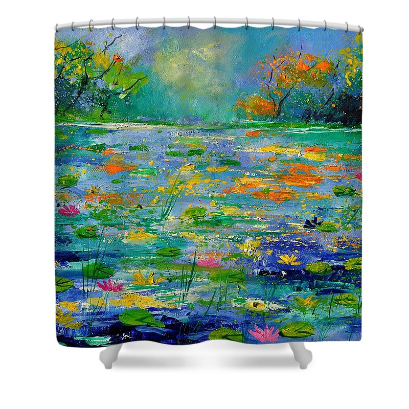 Landscape Shower Curtain featuring the painting Pond 454190 by Pol Ledent