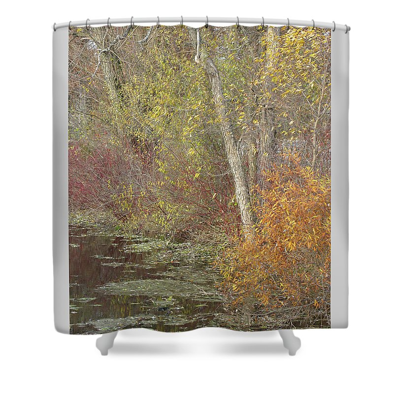 Autumn Shower Curtain featuring the photograph Pondside Pastel by Ann Horn