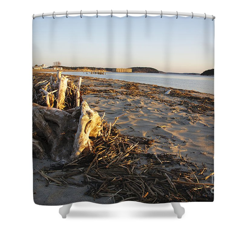 Atkins Bay Shower Curtain featuring the photograph Popham Beach State Park - Phippsburg Maine Usa by Erin Paul Donovan