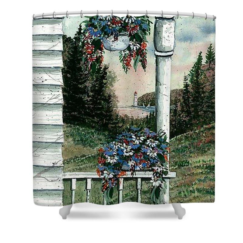 Porch Pots Shower Curtain featuring the painting Porch Pots by Steven Schultz