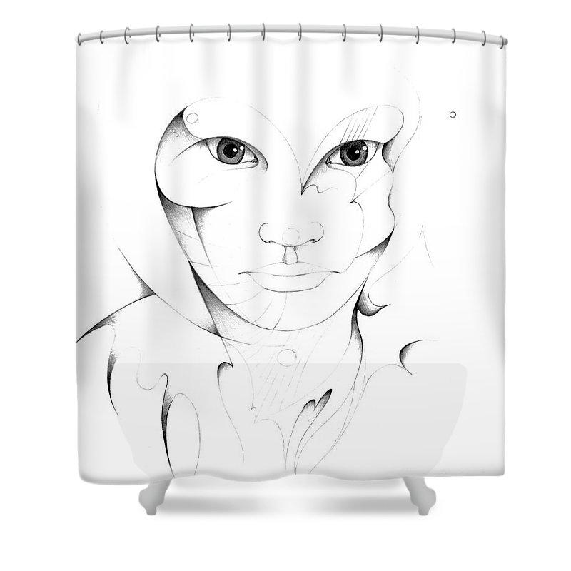 Portrait Shower Curtain featuring the drawing Portrait by Nicholas Burningham
