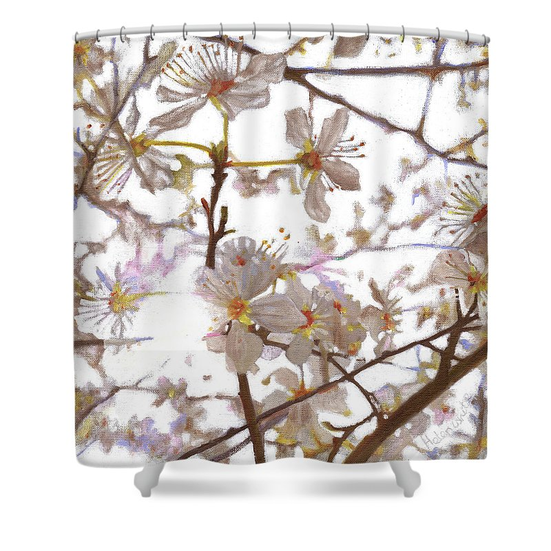 Floral Shower Curtain featuring the painting Prelude by Helen White