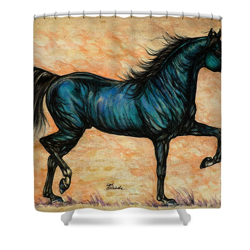 Horse Shower Curtain featuring the painting Psychedelic Blue by Angel Ciesniarska