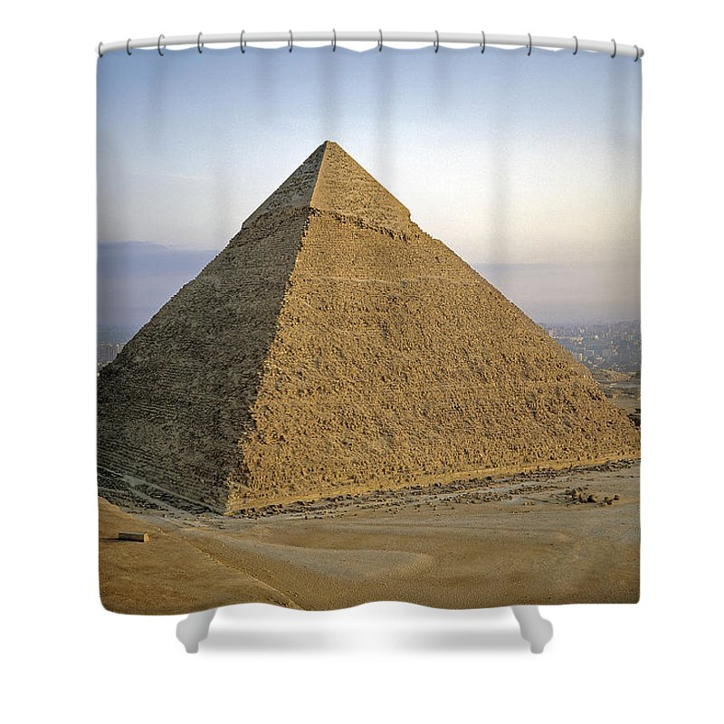 Ancient Shower Curtain featuring the photograph Pyramid Of Khafre by Adam Sylvester