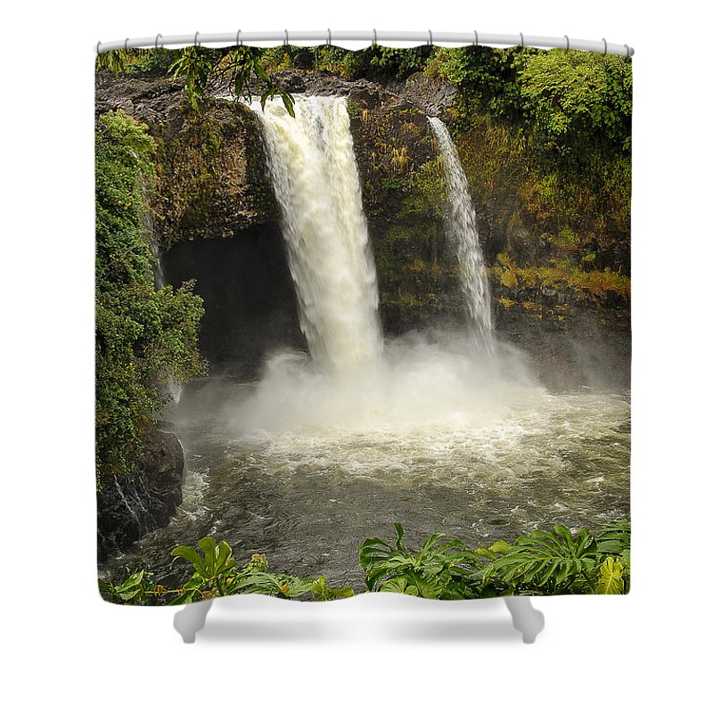 Rainbow (waianuenue) Falls Shower Curtain featuring the photograph Rainbow Falls by Yefim Bam