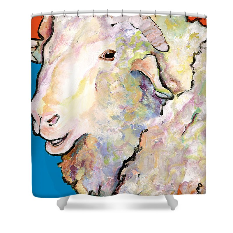 Pat Saunders-white Shower Curtain featuring the painting Rainbow Ram by Pat Saunders-White