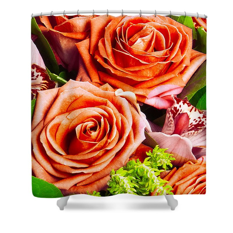 Red Shower Curtain featuring the photograph Red Roses by Munir Alawi