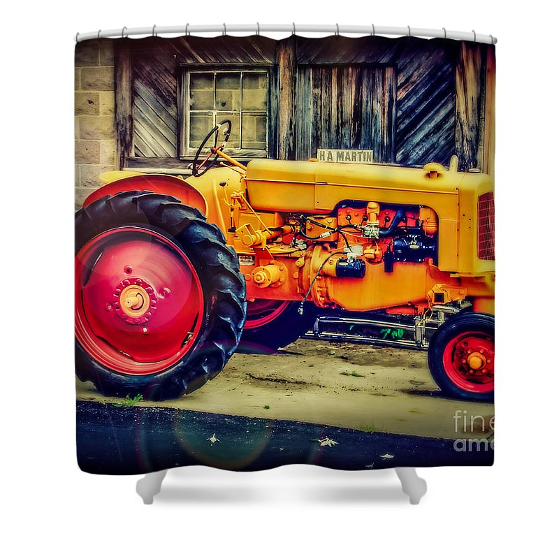 Tractor Shower Curtain featuring the photograph Red Wheels by Perry Webster