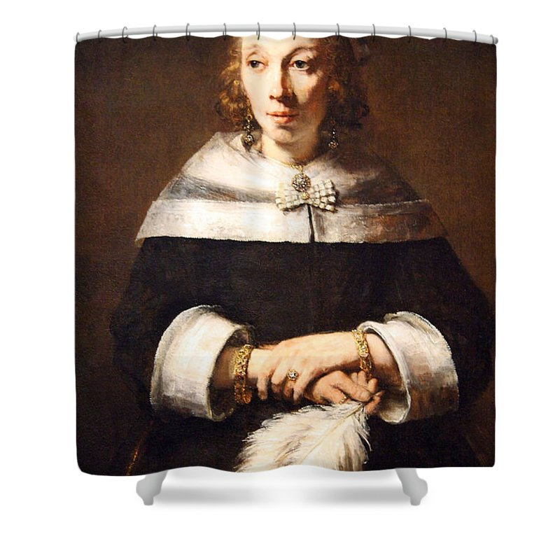 Portrait Of A Lady With An Ostrich Feather Fan Shower Curtain featuring the photograph Rembrandt's Portrait Of A Lady With An Ostrich Feather Fan by Cora Wandel