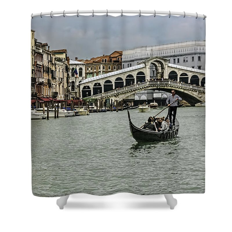 City Shower Curtain featuring the photograph Rialto Bridge by Maria Coulson