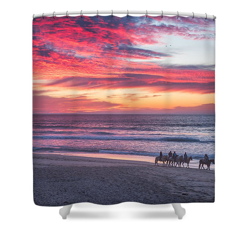 Central California Coast Shower Curtain featuring the photograph Riding In The Sunset by Bill Roberts