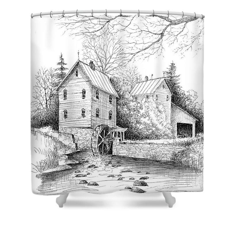 Pen & Ink Shower Curtain featuring the painting River Mill by Steven Schultz