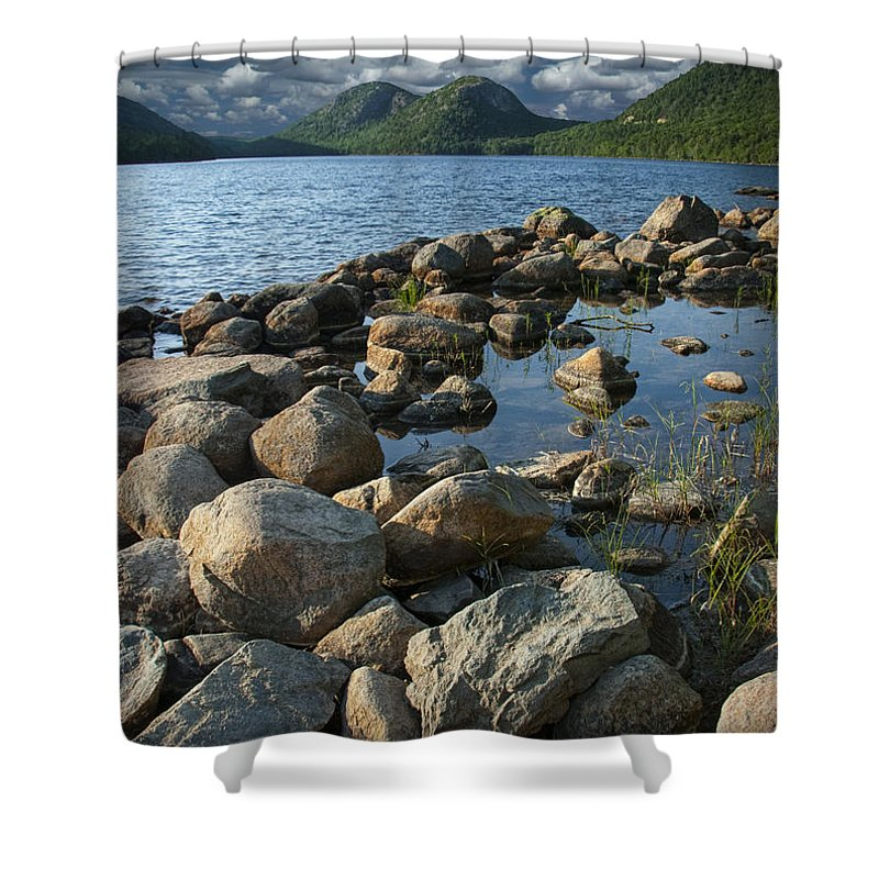 Art Shower Curtain featuring the photograph Rocky Shoreline In Acadia National Park by Randall Nyhof