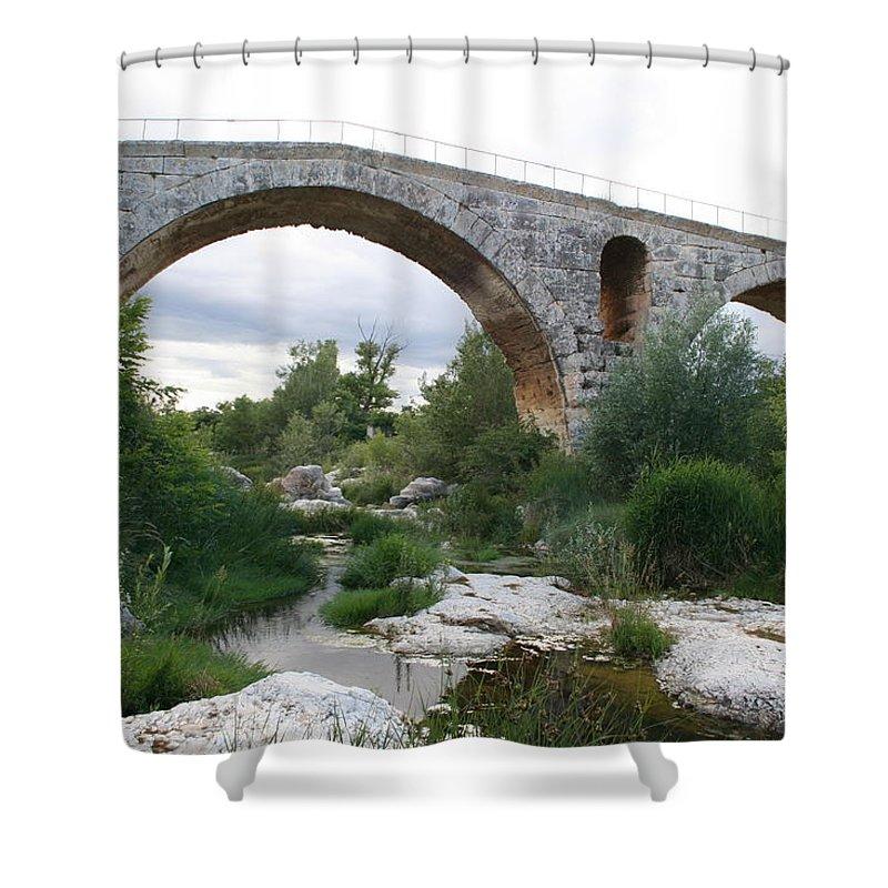 Roman Stonebridge Shower Curtain featuring the photograph Roman Arch Bridge Pont St. Julien by Christiane Schulze Art And Photography