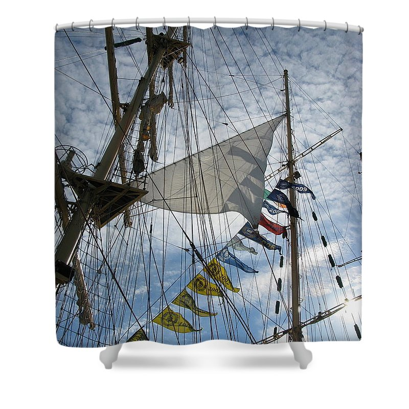 Rigging Shower Curtain featuring the photograph Sail Away by Maria Joy