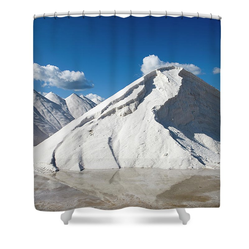 Working Shower Curtain featuring the photograph Salines De Llevant Salt Works by Holger Leue