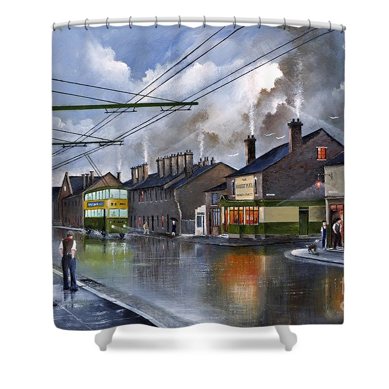England Shower Curtain featuring the painting Salop Street Dudley C 1950 by Ken Wood
