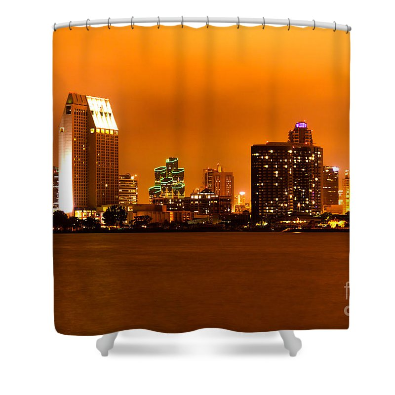 2012 Shower Curtain featuring the photograph San Diego Skyline At Night by Paul Velgos