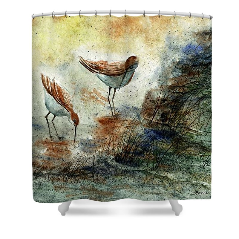 Sand Pipers Shower Curtain featuring the painting Sand Pipers by Steven Schultz