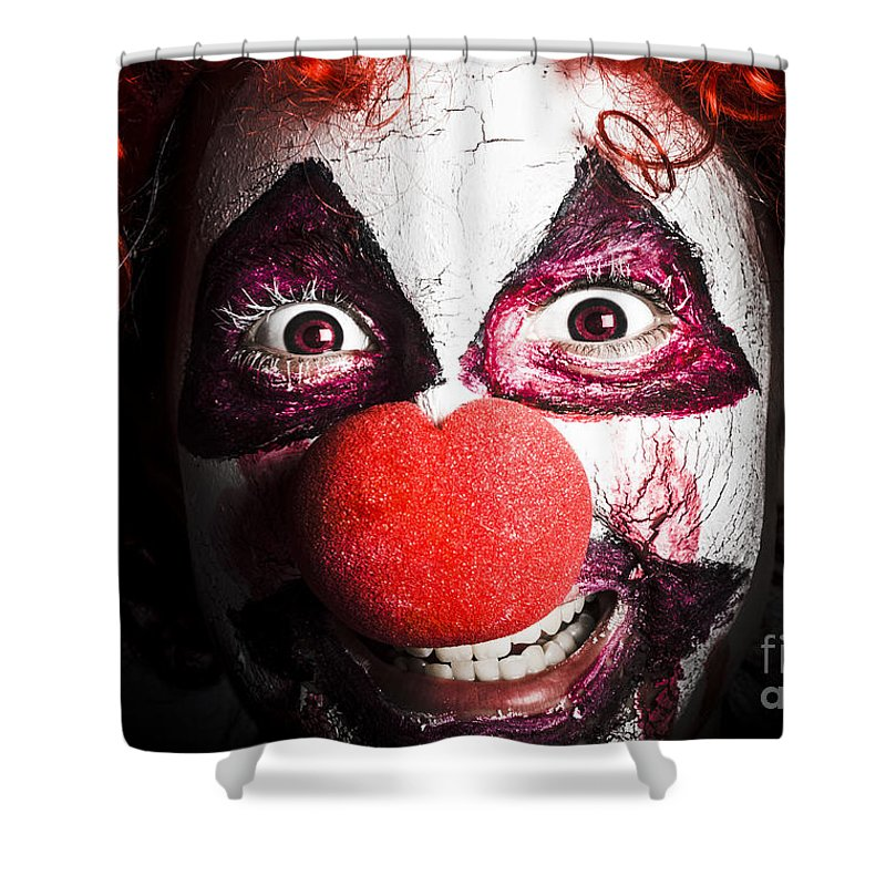 Clown Shower Curtain Featuring The Photograph Scary And Evil Smiling In Dark Spooky Style By