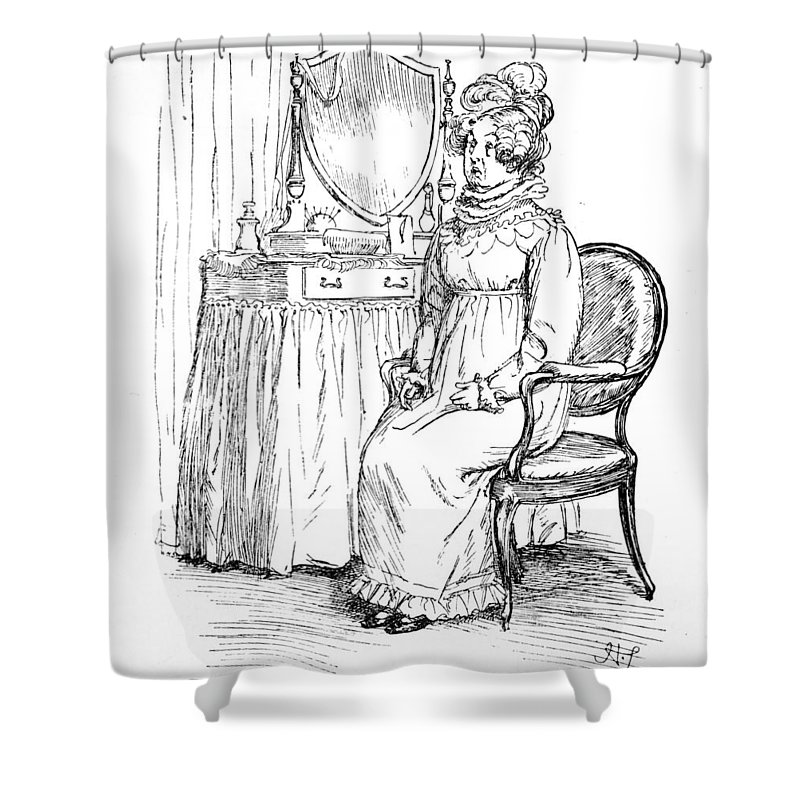 Unable To Utter A Syllable; Illustration; Pride And Prejudice; Jane Austen; Edition; Illustrated; Mrs; Bennet; Elizabeth's; Announcement; Announcing; Engagement; Mr; Darcy; Elizabeth; Stunned; Shocked; Regency; Georgian; Costume; Dressing Table; Mother; News; Woman; Character; Speechless; Character Shower Curtain featuring the drawing Scene From Pride And Prejudice By Jane Austen by Hugh Thomson